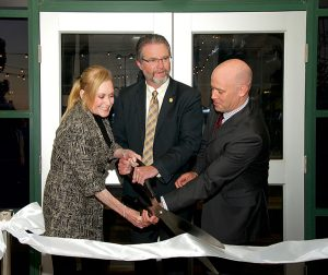 Julie Nadel, Dr. Anthony Beebe, and Geoff Green at the ribbon cutting ceremony